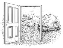 Vector Artistic Drawing Illustration of Open Door in Beautiful Nature Landscape. Vector artistic pen and ink drawing illustration of open door in beautiful Royalty Free Stock Image