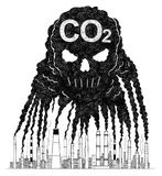 Vector Artistic Drawing Illustration of Smoke From Smokestacks Creating Human Skull, Concept of CO2 Air Pollution Stock Photo