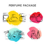 Vector artistic perfume package isolated on white background. Stock Photos