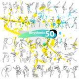 Vector artistic Rhythmic Gymnastic sketch collection. Stock Photos
