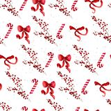 Vector artistic seamless pattern for Merry Christmas holiday with hand drawn watercolor decor elements - holly berry, red bow, lol. Lipop isolated on white Royalty Free Stock Photography