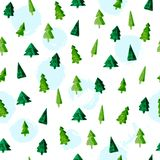 Vector artistic seamless pattern for Merry Christmas holiday with hand drawn watercolor different shapes fir tree. And paint spots isolated on white background Stock Photos