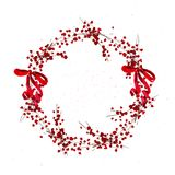 Vector artistic watercolor hand drawn Merry Christmas decoration wreath with holly berry branches & bow isolated on white backgrou. Nd. Congratulation design vector illustration