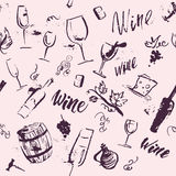 Vector artistic watercolor hand drawn seamless pattern with wine design elements isolated. Ink drawing. Wine package, packaging paper design Stock Images