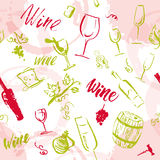 Vector artistic watercolor hand drawn seamless pattern. With wine design elements isolated. Ink drawing. Wine package, packaging paper design Stock Photography