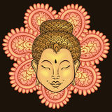 Vector artistically colorful Portrait of Buddha on mand. Ala, Buddhism tattoo art, ethnic patterned t-shirt print. Monochrome hand drawn religion illustration in Vector Illustration