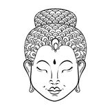Vector artistically Portrait of Buddha for ornamental adult colo. Ring pages, Buddhism tattoo art, ethnic patterned t-shirt print. Monochrome hand drawn religion Royalty Free Illustration