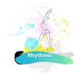 Vector artistiek Ritmisch Gymnastiek- schetsembleem Stock Afbeeldingen