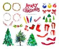 Vector artistieke hand getrokken inzameling van traditionele Vrolijke Kerstmis en de Gelukkige die elementen van het Nieuwjaardec Royalty-vrije Stock Afbeeldingen