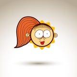 Vector artistieke kleurrijke tekening van gelukkig meisje met mooi Royalty-vrije Stock Afbeelding
