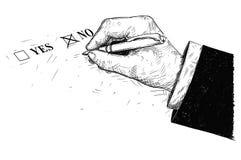 Vector Artistieke Tekeningsillustratie van ja en Geen van de Vragenlijstvorm en Hand Holdingsballpoint Royalty-vrije Stock Foto's