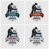 Carpenter logo design. Vector artwork of carpentry or woodwork workshop. Illustration shows a carpenter cutting a wood with saw on a workbench vector illustration