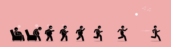 Fat man getting up, running, and become thin transformation. Vector artwork concept shows a stage by stage of an obese man turning himself into a healthy body vector illustration