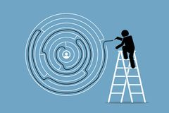 Man successfully finds the solution and way out of a round maze puzzle. Vector artwork depicts the concept of problem solving, intelligent, and challenge Royalty Free Stock Image
