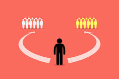 Man choosing to join between two teams or two group of people. Royalty Free Stock Photo