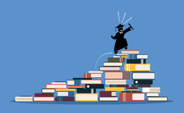 Happy graduating student climbing to the top of book piles. Stock Photo