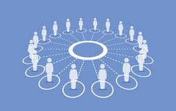 People standing around a circle connecting with each others. Royalty Free Stock Images