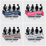 Support group centre logo design. Vector artwork of people sitting together and supporting each other by talking, listening, understanding, and giving advise on stock illustration