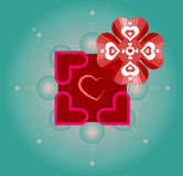 Vector artwork for Valentine's Day with use of sacred geometry symbols, flower of life and hearts. May be used as is, or you can put your text somewhere there Stock Photo