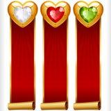 Vector as bandeiras verticais de Gem Hearts e das fitas vermelhas ajustadas Fotos de Stock Royalty Free