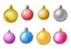 Vector as bolas do Natal da aquarela isoladas no fundo branco Elementos do projeto do feriado Aquarela tirada mão Imagens de Stock