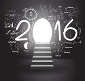 Vector as escadas 2016 do planwith da estratégia do sucesso comercial que vão para cima ilustração do vetor