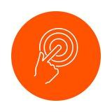 Vector as imagens redondas monocromáticas da unha do polegar do ícone que empurram o botão de sino, estilo liso ilustração royalty free