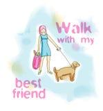 Vector as mulheres da ilustração da aquarela que andam com seu cão Fotografia de Stock