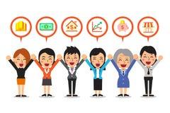 Vector as mulheres de negócio dos desenhos animados que falam sobre opções de investimento diferentes ilustração royalty free
