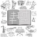 Vector as palavras cruzadas incolores, jogo para crianças sobre o instru da música Imagens de Stock Royalty Free
