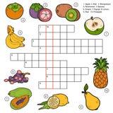 Vector as palavras cruzadas, jogo para crianças sobre frutos Imagem de Stock Royalty Free