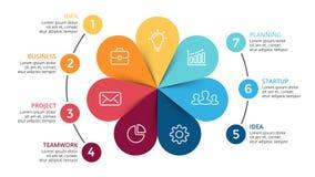 Vector as setas infographic, diagrama do círculo do ciclo, gráfico da flor, carta da apresentação Fotos de Stock