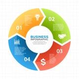 Vector as setas infographic, diagrama do círculo, gráfico, apresentação, carta Conceito do ciclo de negócio com 4 opções, peças ilustração stock