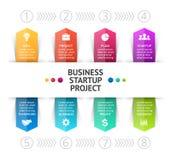 Vector as setas infographic, diagrama do ciclo, gráfico, apresentação do negócio, carta 8 opções, peças, etapas, processos info ilustração stock
