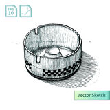 Vector ashtray sketch. Illustration Royalty Free Stock Images