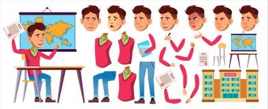 Vector asiático del colegial del muchacho Alto alumno Sistema de la creación de la animación Emociones de la cara, gestos Alumno  libre illustration