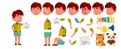 Vector asiático del niño de la guardería del muchacho Sistema de la creación de la animación Emociones de la cara, gestos Pequeño ilustración del vector