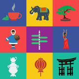 Vector asia flat color. File format eps 10 Royalty Free Stock Images