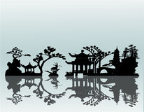 Vector Asian Landscape Royalty Free Stock Photo