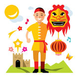 Vector Asian man with Chinese dragon. Flat style colorful Cartoon illustration. Stock Images