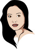 Vector Asian woman who wears no makeup Royalty Free Stock Images