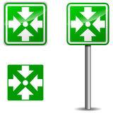 Vector assembly point signpost. Vector illustration of assembly point signpost on white background Royalty Free Stock Image