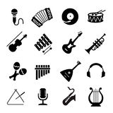 Vector Assorted black musical instruments icons Stock Image