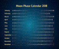 Vector astrological calendar for 2018. Moon phase calendar in the night starry sky. Creative lunar calendar with dates Stock Image