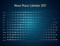 Vector astrological calendar for 2017. Moon phase calendar in the night starry sky. Creative lunar calendar ideas. For your design Royalty Free Stock Image