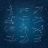 Vector astrological element. Zodiac signs. Horoscope. Eps 10. Vector objects. 12 signs of the zodiac on a background of the starry sky. Set of zodiac signs royalty free illustration