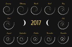 Vector astrological spiral calendar for 2017. Lunye phase calendar for white on a dark grey background. Creative lunar calendar ideas for your design royalty free illustration