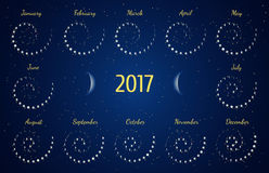 Vector astrological spiral calendar for 2017. Moon phase calendar in the night starry sky. Creative lunar calendar ideas for your design Stock Images