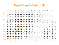 Vector astrologische kalender voor 2017 De kalender van de maanfase voor donkergrijs op een witte achtergrond Stock Fotografie