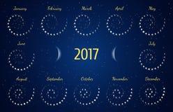 Vector astrologische spiraalvormige kalender voor 2017 De kalender van de maanfase in de nacht sterrige hemel Stock Afbeeldingen